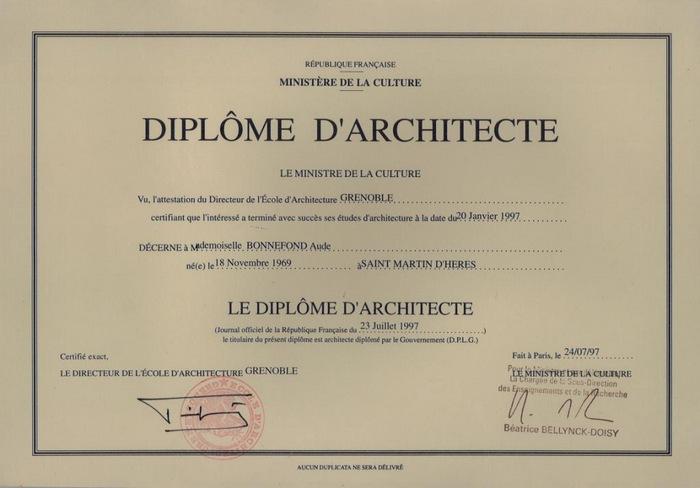 diplome architecte